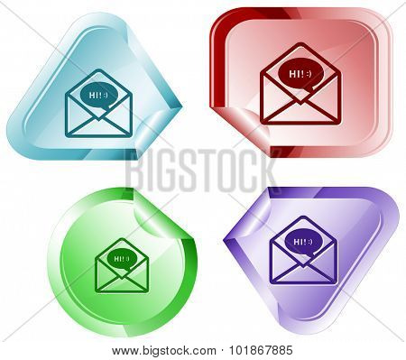 open mail with chat. Vector sticker.