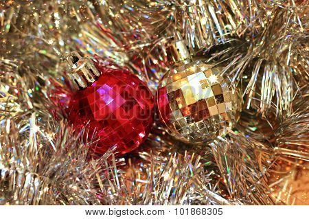 Festive Background With Christmas Tinsel And Balls