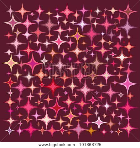 Pink Orange Star Collection Over A Deep Red Backdrop
