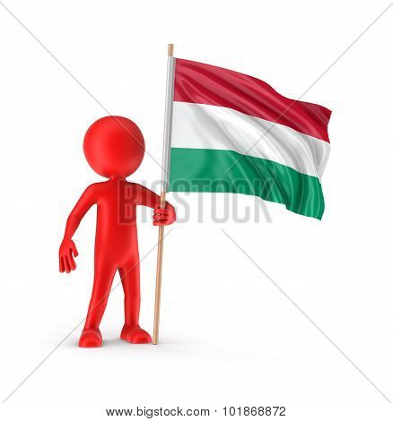 Man and Hungarian flag (clipping path included)