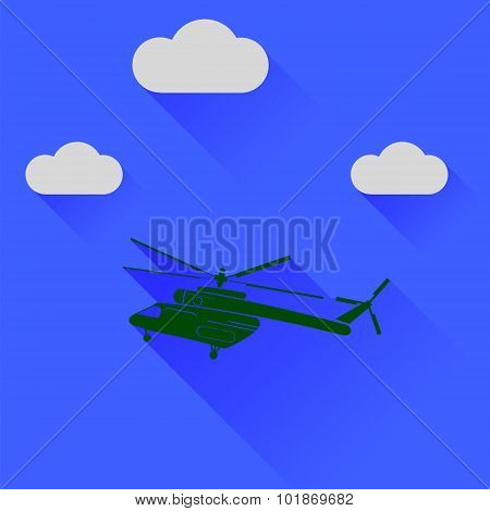 Green Helicopter Silhouette on Blue Sky Background. Long Shadow