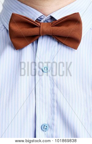 Brown Bow Tie On A Blue Shirt