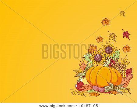 Harvested Fruits And Vegetables Background