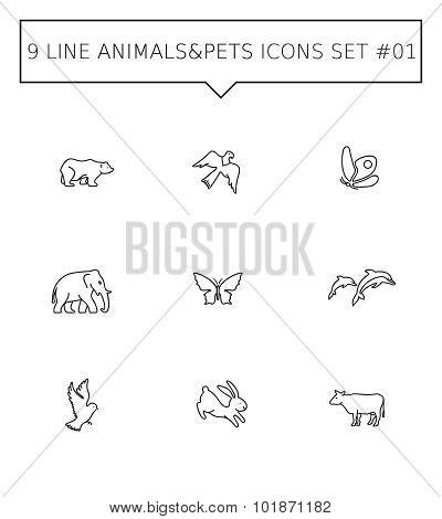 Animals and pets icon set 1