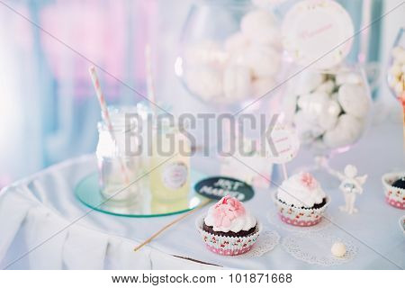 Dessert Sweet Cupcakes, Candy, confection On Table. Sweets. Cand