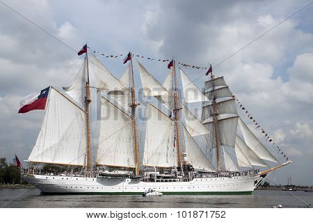 Historical tallship the ersmerlanda from chili