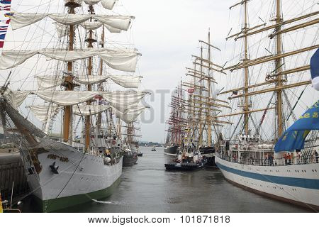 Big tallships in the lockson nautical event Sail 2015