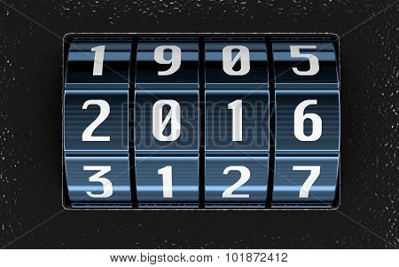 Combination lock with 2016 (clipping path included)