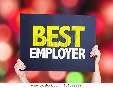 Best Employer placard with bokeh background