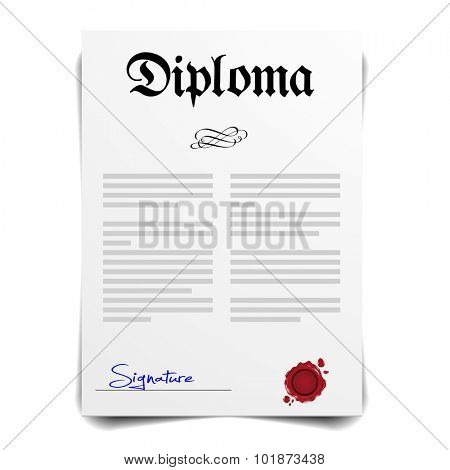 detailed illustration of a Diploma Letter, eps10 vector
