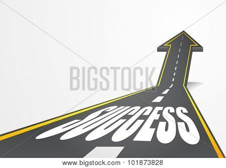 detailed illustration of a highway road going up as an arrow with Road to Success text, eps10 vector