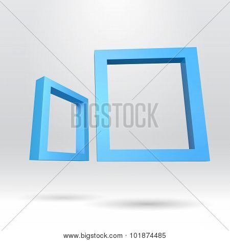 Two blue rectangular 3D frames