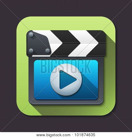 Vector Clapboard Icon With Long Shadows