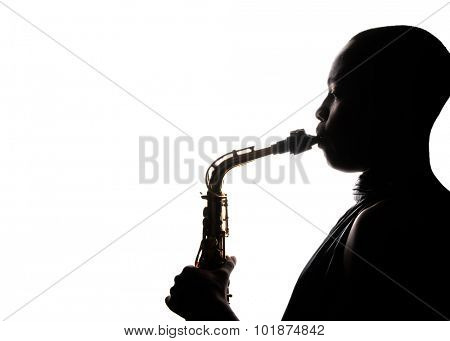 Nice Image Of a afro American Holding and playing the saxophone
