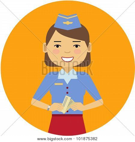 Smiling air hostess holding tickets