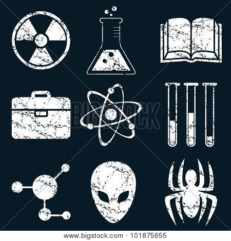 Science icon set, white grunge