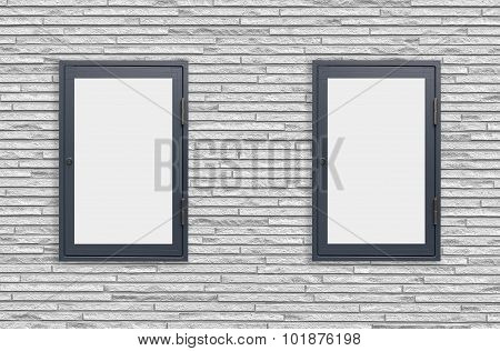 Wood window display frame on white concrete wall background