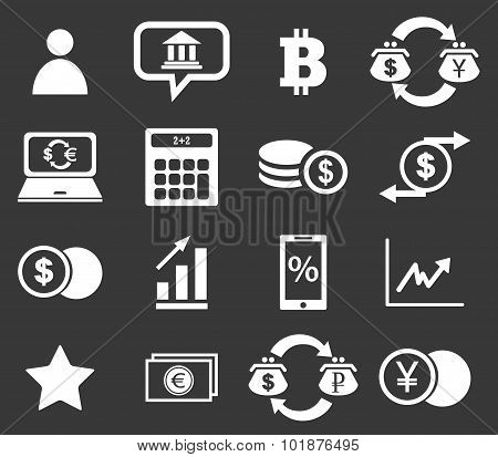 Finance icon set 4, monochrome