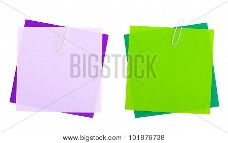 Empty color paper note isolated on white background
