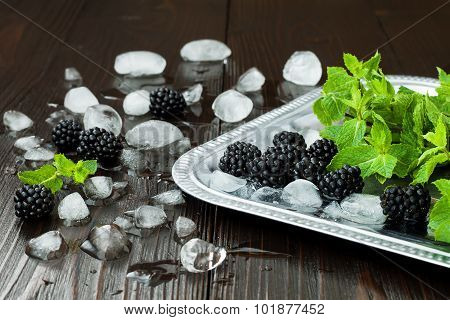 Blackberries and mint with ice on silver tray over dark rustic wooden table. Summer background