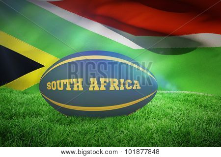 South Africa rugby ball against flag of south africa