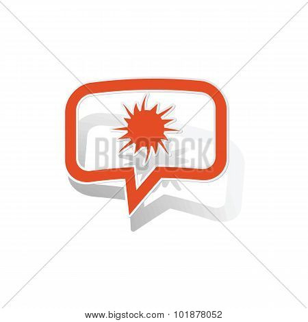 Explosion message sticker, orange