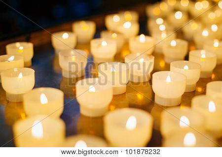Group Of Candles In Church. Candles Light
