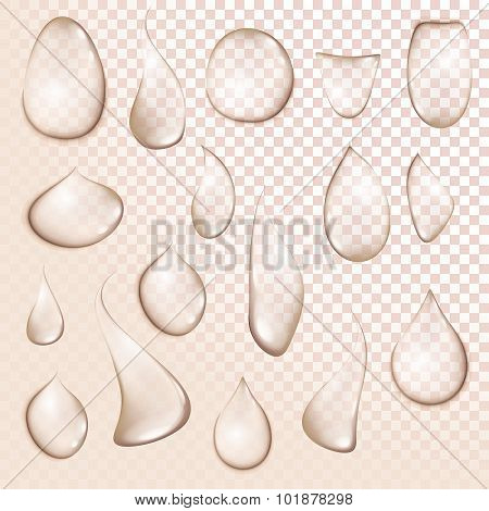 Drop Pure Clear Water Drops Realistic Set Isolated Vector Illustration