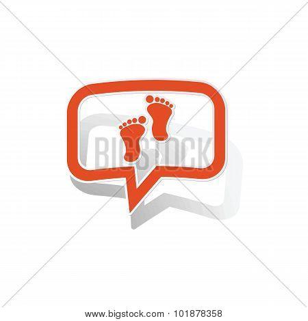 Footprint message sticker, orange