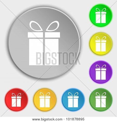 Gift Box Sign Icon. Present Symbol. Symbols On Eight Flat Buttons. Vector