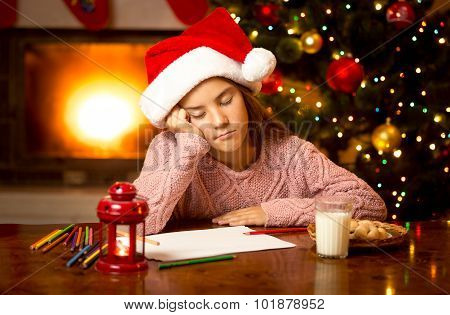 Cute Girl Fell Asleep While Writing Letter To Santa
