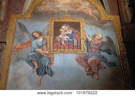 LJUBLJANA, SLOVENIA - JUNE 30: Virgin Mary with baby Jesus, fresco in the Franciscan Church of the Annunciation on Preseren Square in Ljubljana, Slovenia on June 30, 2015