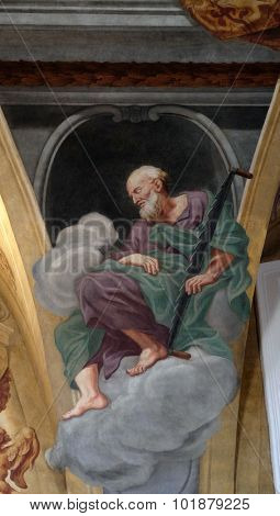 LJUBLJANA, SLOVENIA - JUNE 30: Saint Simon the Zealot, fresco on the ceiling  of the Cathedral of St Nicholas in the capital city of Ljubljana, Slovenia on June 30, 2015