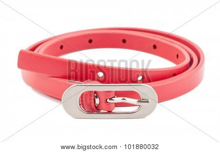 Pink woman belt isolated on white background.