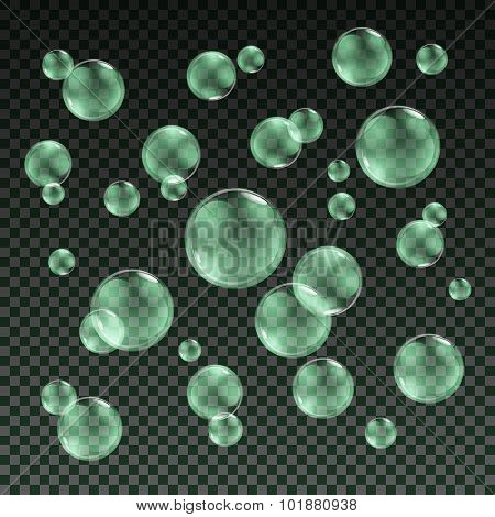 Transparent Green Soap Bubbles Vector Set On Plaid Background. Sphere Ball, Design Water And Foam