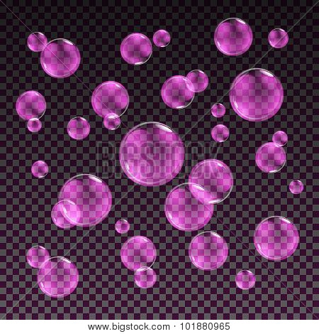 Transparent Pink Soap Bubbles Vector Set On Plaid Background. Sphere Ball, Design Water And Foam