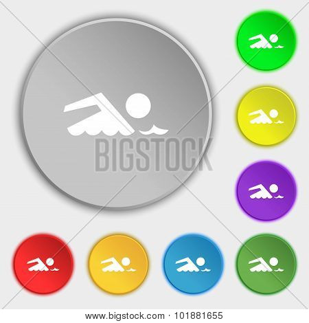 Swimming Sign Icon. Pool Swim Symbol. Sea Wave. Symbols On Eight Flat Buttons. Vector