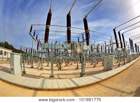 High voltage switchyard in fisheye perspective