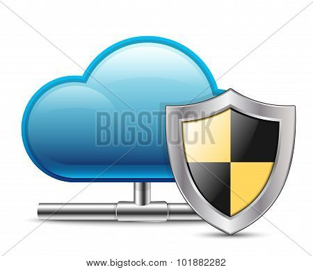 Cloud Computing Icon With Protection. Vector Illustration