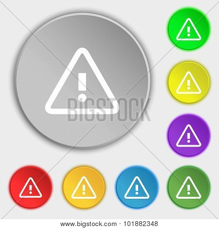 Attention Caution Sign Icon. Exclamation Mark. Hazard Warning Symbol. Symbols On Eight Flat Buttons.