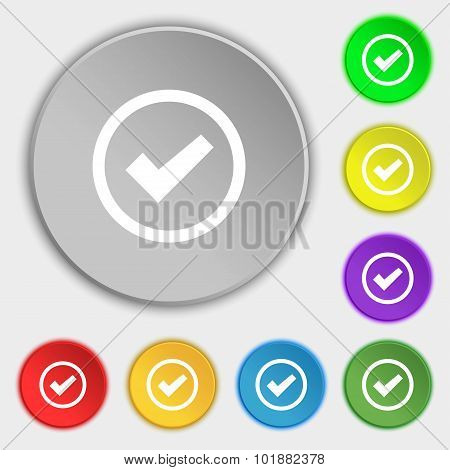 Check Mark Sign Icon . Confirm Approved Symbol. Symbols On Eight Flat Buttons. Vector