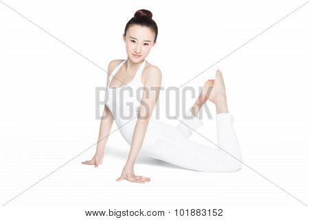 Smiling Sporty Girl Doing Yoga Practice