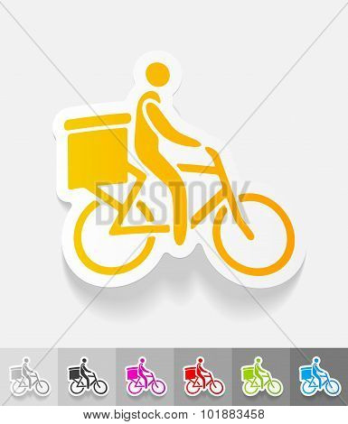 realistic design element. delivery of goods by bicycle