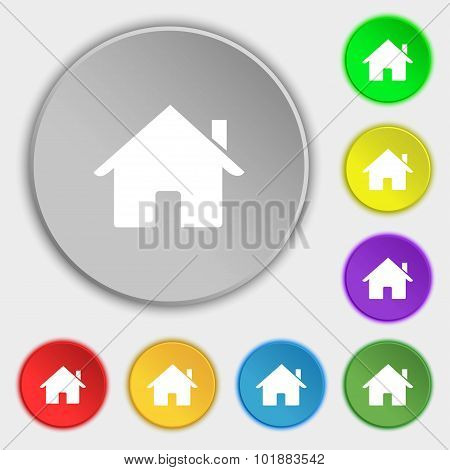 Home Sign Icon. Main Page Button. Navigation Symbol. Symbols On Eight Flat Buttons. Vector