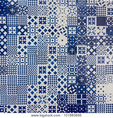 Azulejo portuguese ceramic tiles background.