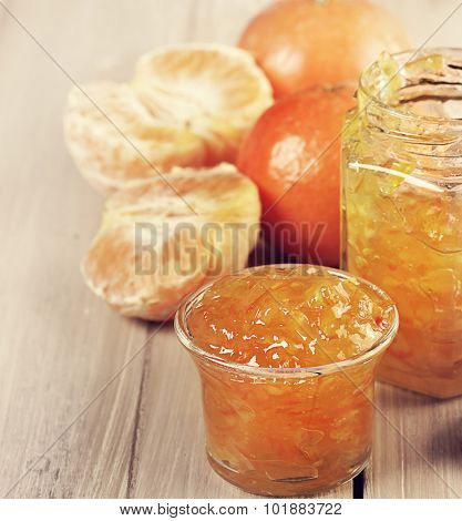 Orange Jam in Glass Jar