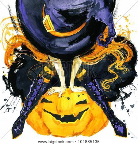 Girl witch Halloween holiday. Halloween festival watercolor Hand Painted Background. Watercolor illu