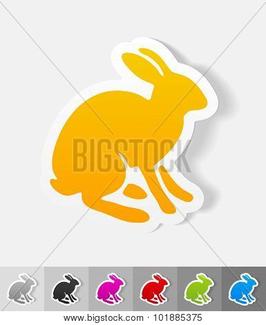 realistic design element. hare