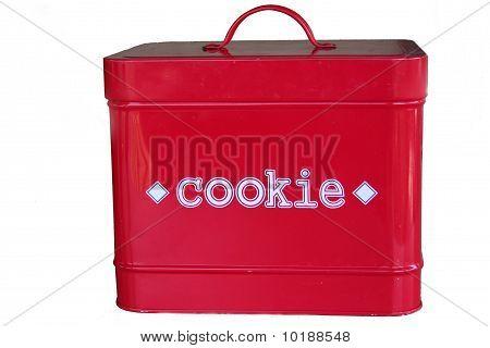 red metal square cookie tin