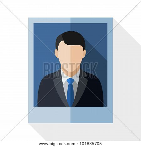 Picture Of A Man In A Business Suit With Long Shadow On White Background